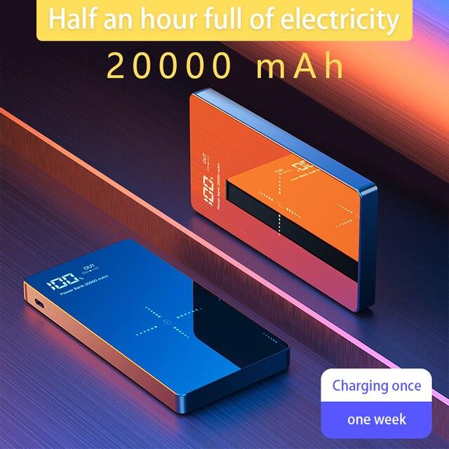 QI 무선 충전기 전원 은행 20000 mAh Xiaomi Mi 2 빠른 충전 2A PowerBank 휴대용 충전기 외부 배터리 아이폰에 대 한