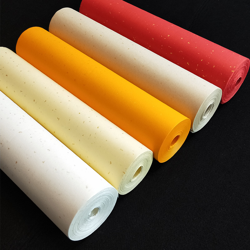 Long Rolling Half Ripe Rice Paper Gloden Drawing Paper Colorful Thicken Blank Calligraphy Xuan Paper Painting Calligraphy 20m