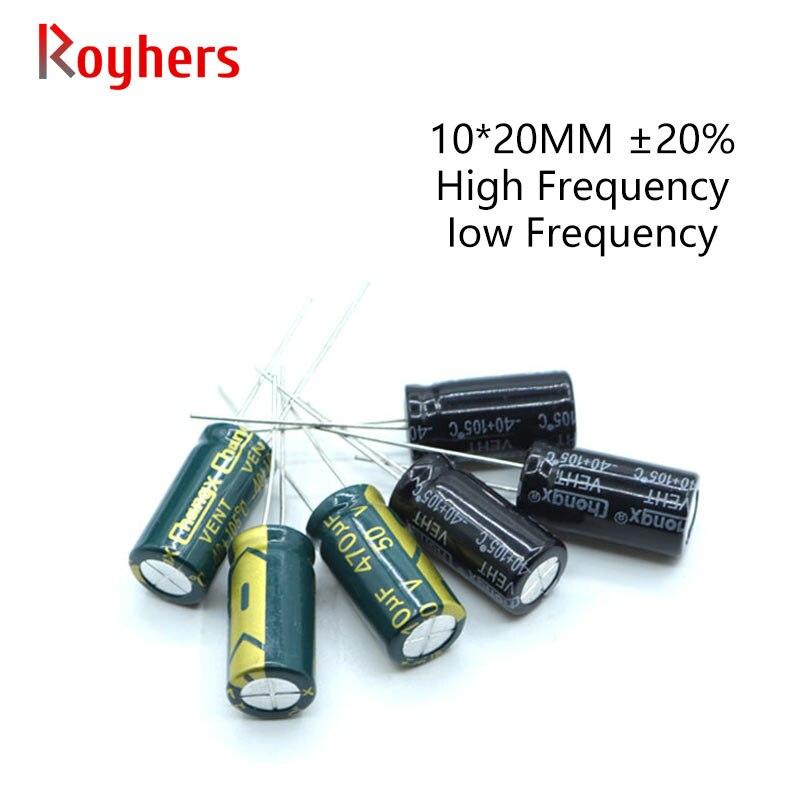 10 Uds 10*20 alta frecuencia de baja ESR condensador electrolítico de aluminio 10V 16V 25V 35V 50V 470UF 680UF 1500UF 150UF surtidos Set