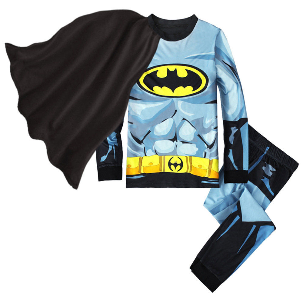 Superhero Batman Costumes Pajamas Kid Boys Girls Cotton Sleepwear Halloween Christmas Party Cosplay Batman Homewear Child Gift
