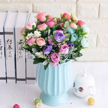 Artificial europeu-estilo pequeno rosas decoração floral plástico pode zhuo hua pacote artificial de 6 garfo ou shi cha bud