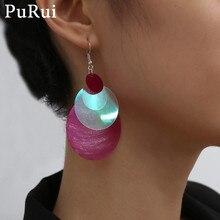 Purui Boho Acrylic Drop Earrings for Women Colorful Round Circle Geometric Vintage Tassel Dangle Earrings Sweet Fashion Jewelry fashion sweet shell round dangle earrings