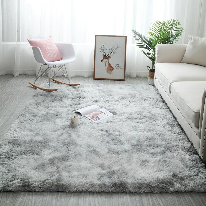 2020 New Nordic Ins Variegated Tie-dye Gradient Carpet Living Room Coffee Table Mat Long Hair Bedroom Carpet Kids Crawling Rug