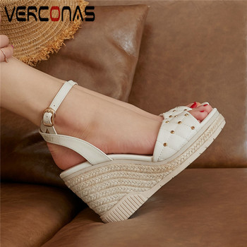 VERCONAS Lace Up Top Quality Thick Bottom Women Genuine Leather Thick Heels Party Pumps Summer Sandals New Arrival Shoes Woman