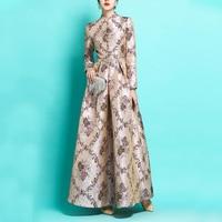 Long Sleeve Long Maxi Autumn Winter Dress Party for Women Boho Floral Jacquard Dress Fashion