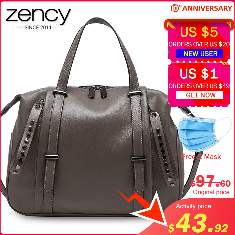 Zency Large Capacity Women Tote Handbag 100% Genuine Leather Fashion Lady Shoulder Bag Crossbody Bags Black High Quality