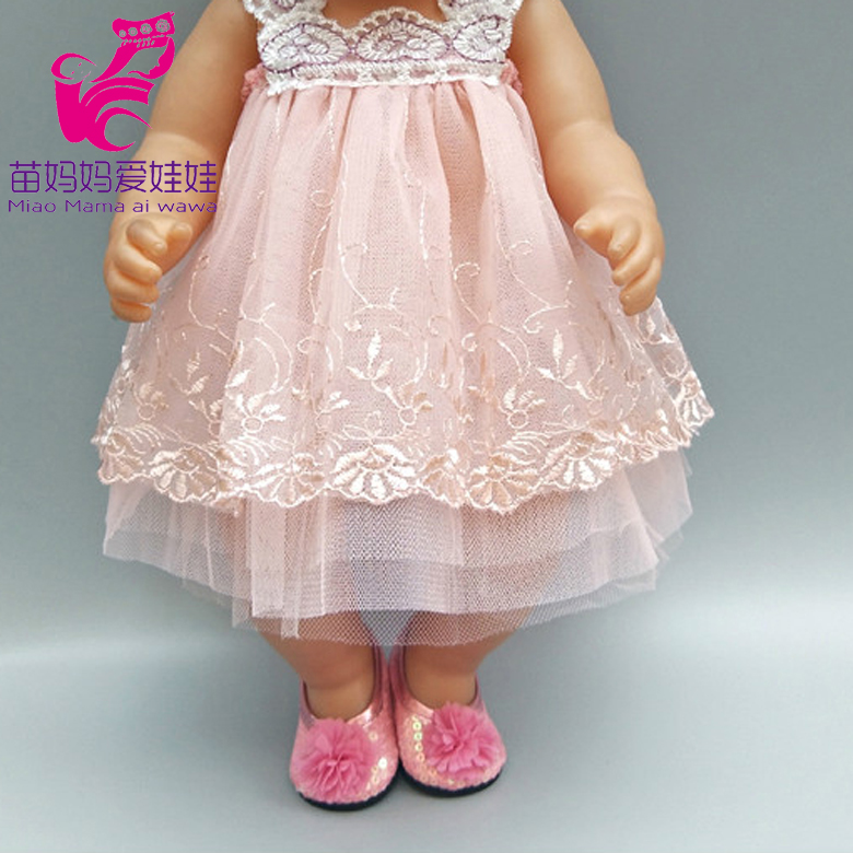 Doll Dress For 43cm Born Bebe Born Doll Clothes Lace Dress With Underwear For 18 Inch Girl Doll Pink Dress