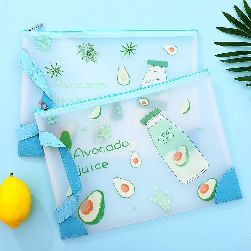 1pcs A4 A5 Avocado TPU Waterproof Zipper Paper File Folder Book Pencil Pen Case Bag File Document Bag For Office Student Supply