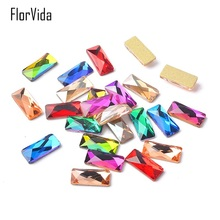 FlorVida 10pcs 3*7mm Rectangle Glass Rhinestones Flat Bottom Sparkly Nail Art for Nails 3D Decorations