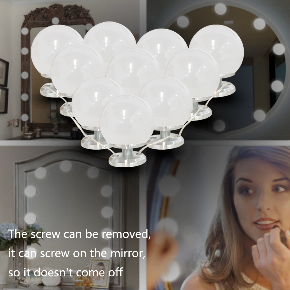 LED Mirror lights Kit Makeup Lights Vanity 6/10 Bulbs for bathroom wall, dresser dimer with Plug in Linkable Linkable.