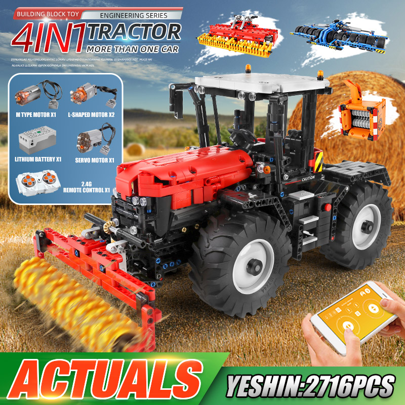 MOULD KING 17020 APP High-Tech Car Toys The RC Motorized Trator With Roller Packer Harrow Building Blocks