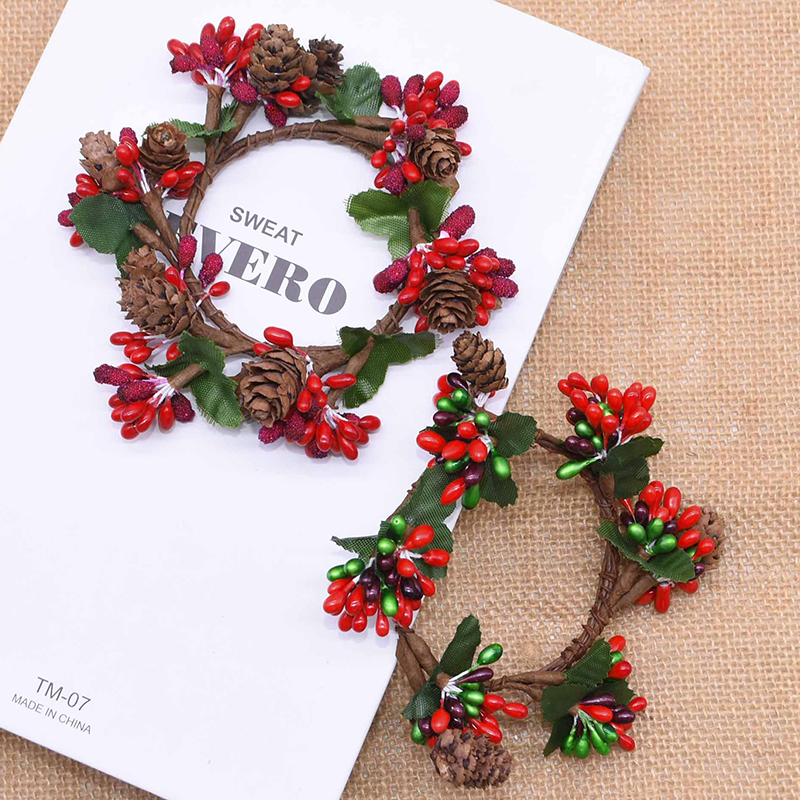 1Pcs Christmas Artificial Wreath with Berry Flowers Mini Faux Wreath for xmas Front Door Wall Festival Fireplace Window Decor