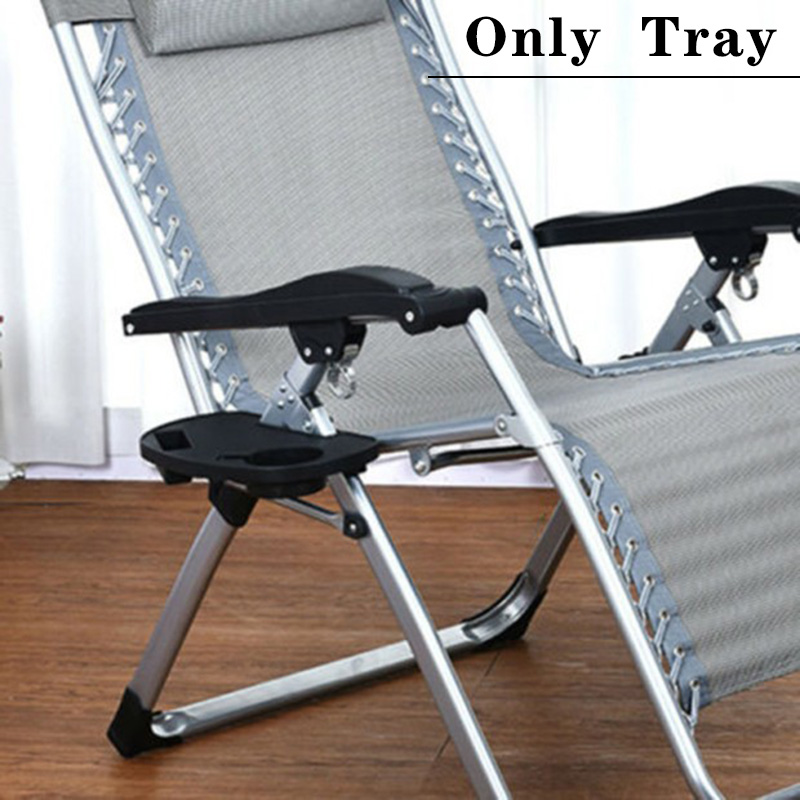 Black Gravity Folding Lounge Beach Chairs Outdoor Recliner Tray Tool Durable Hot