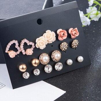 2019 New Fashion Women 9pair/set Flower Pearl Alloy Ear Earring Cute Crystal Wedding Jewelry Gifts For Girl korean fashion 5
