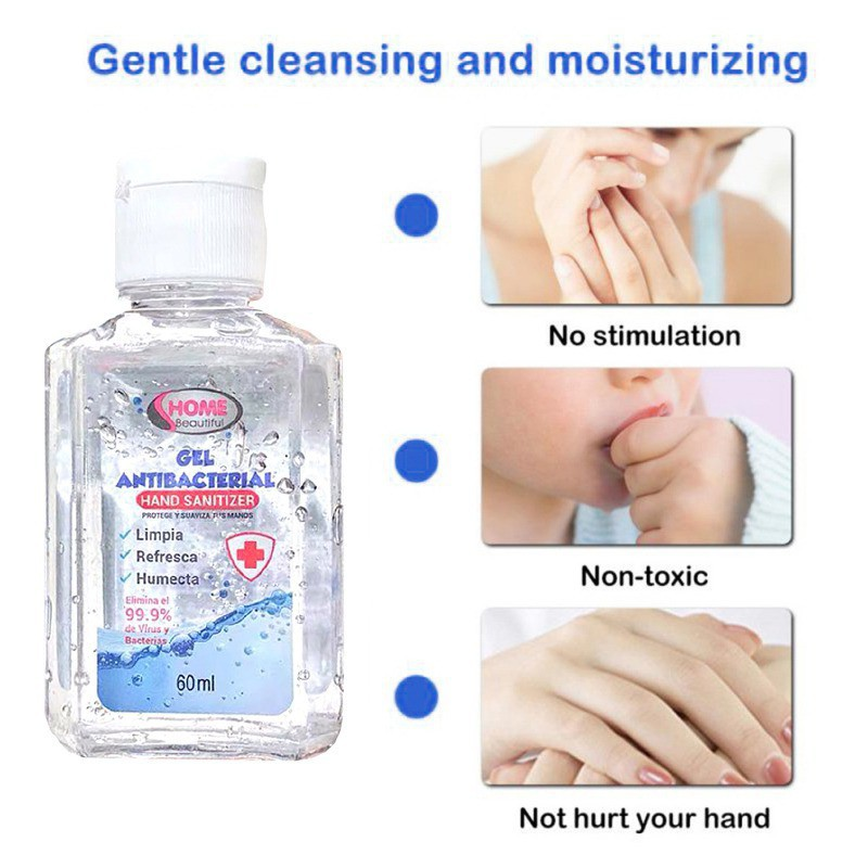 5pcs/set Disposable Hand Sanitizer No-Wash Hands-Free Hand Sanitizer Household Quick-drying Disinfecting Hand Wash Gel 60ml