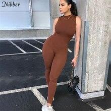 Nibber – combinaison noire et blanche pour femmes, salopette de base, sans manches, tenue de Fitness, collection automne 2020