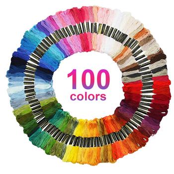 New 100 Colors Cross Stitch Threads Cotton Sewing Skeins Embroidery Thread Floss Skein Kit DIY Sewing Tools Craft Accessories tanie i dobre opinie CN (pochodzenie) BARWIONE Poliester Bawełna Wypalana Ścieg krzyżykowy Szydełka Utkane haft ZSZYWANE Dzianina Robótki ręczne