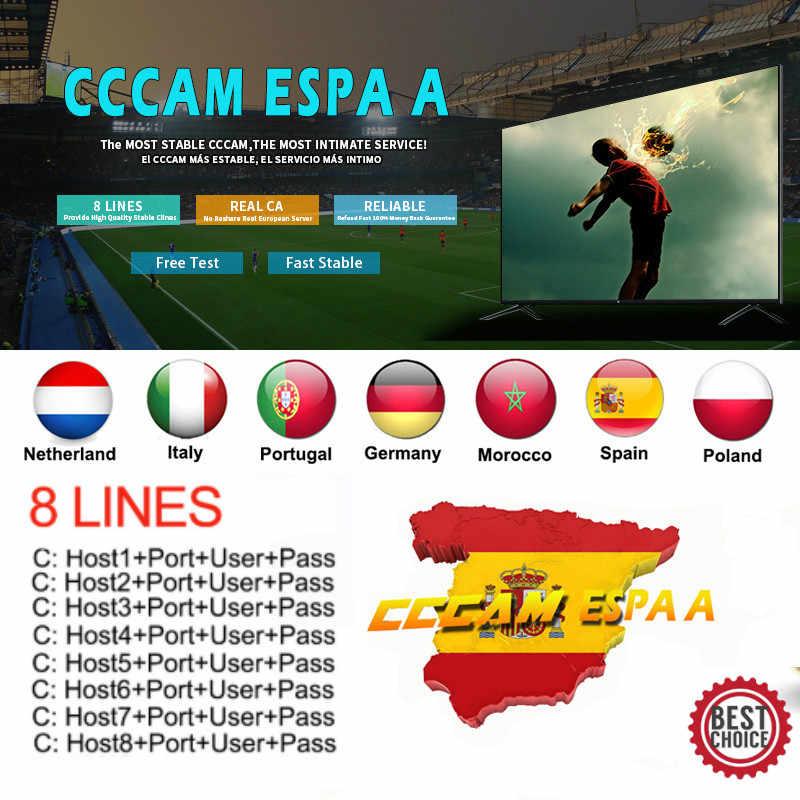 2020 สเปนCccam Espaเซิร์ฟเวอร์Hd Stable 8 เส้นโปรตุเกส/โปแลนด์/Italia 1 ปี 2 ปีทีวีCinebox Satellite Receptor