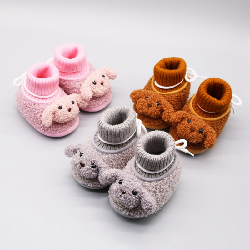 Winter Cute Animal Style Baby Boots Shoes Fleece Worm Cotton-padded Shoes Baby Booties Wholesale 0-18 Month Infant Toddler Shoes