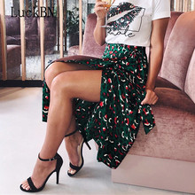 2019 Vintage Leopard Print Long Skirts Women High Waist Midi Skirt Bow Tie Summer Sexy Split Wrap Skirt Ladies Green Beach Skirt недорого