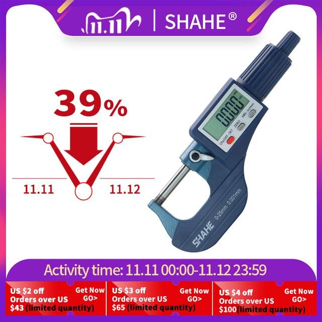 Shahe micrómetro Digital micrón de 0 25/25 50/50 75/100mm, micrómetro electrónico exterior, calibrador de herramientas digitales de 0.001mm