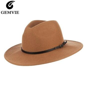 GEMVIE Unisex de ala ancha plana 100% sombrero de lana Fedora Camel fieltro sombrero para mujeres hombre bandas de cuero cálido invierno Panamá sombrero de Jazz tapa
