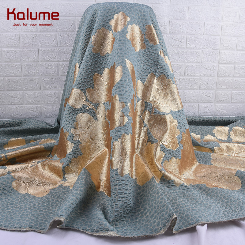 Kalume Fashion African Gilding Lace Fabric Cyan High Quality French Jacquard Brocade Lace Fabric 5 Yards For Nigerian Party 2109