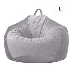 אפור שקית שעועית כיסוי קטיפה ספה כיסא ללא מילוי כסא מושב שעועית שקיות פאף ספה עצלן סלון ספה מכסה 90x110cm