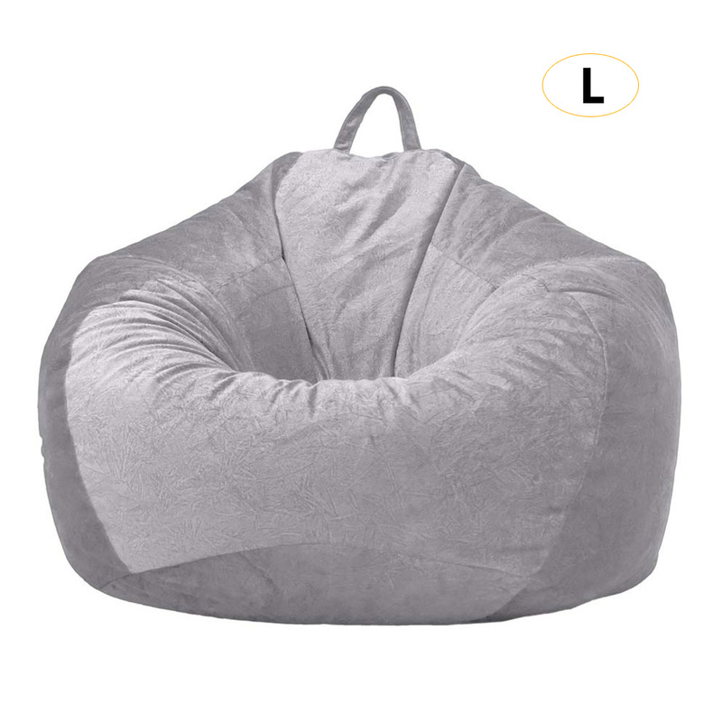 Gray Bean Bag Cover Velvet Sofa Chair Without Filling Lounger Seat Bean Bags Puff Couch Living Room Lazy Sofa Covers 90x110cm