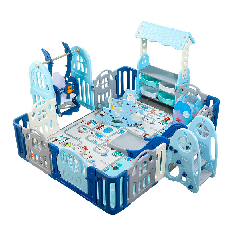 Game Fence Children's Park Indoor Playground Safety Game Fence With Slides Family Baby Baby Crawling Mats Fence