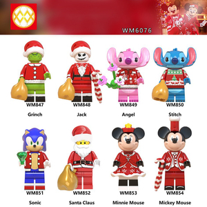 Disney Sonic Christmas Series Blocks Anime Figure Mickey Mouse Jack Stitch Assembled Building Block Super Sonic The Hedgehog Toy