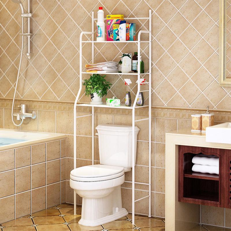 Stainless Steel 3 Layer Bathroom Storage Shelf Punch-Free Bathroom Fixtures Wrought Iron Storage Rack WC Cabinet 165*55*26cm HWC