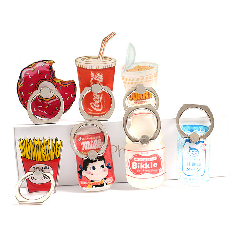 New cartoon finger ring bracket universal metal finger mobile phone ring holder mobile phone holder base chip milk bottle donut