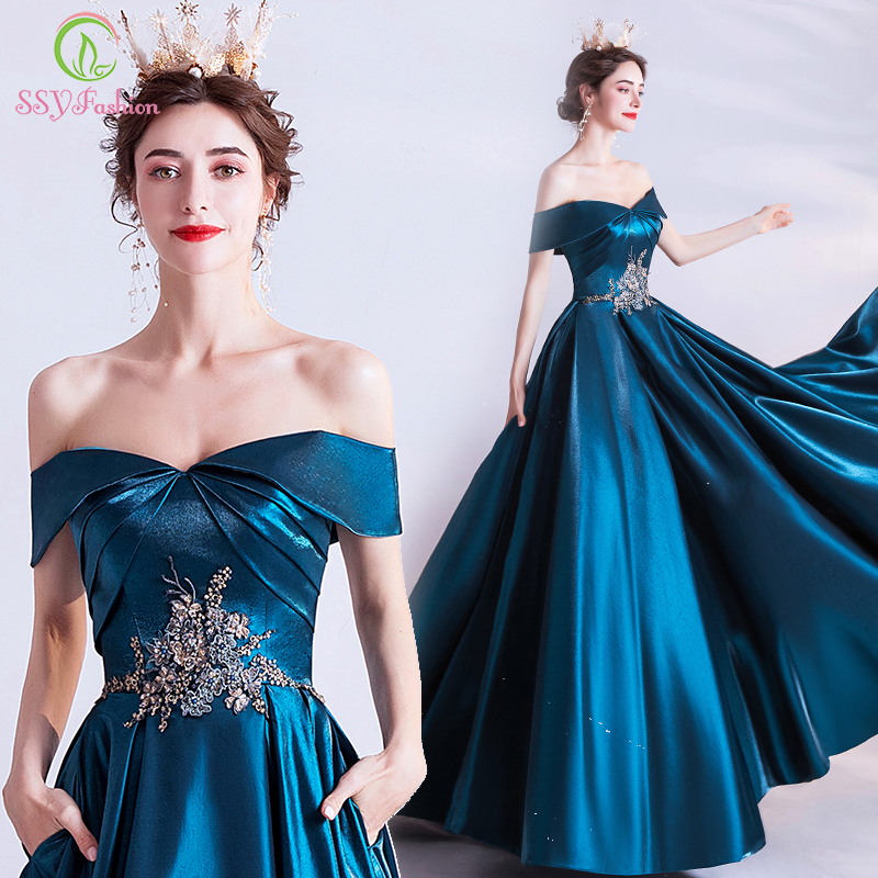 SSYFashion New Vintage Peacock Blue Evening Dress Banquet Elegant Boat Neck Satin A-line Appliques Beading Long Formal Gown