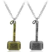 Мода Marvel Мстители Темный мир ожерелье Mjolnir кулон ожерелье ювелирные изделия классический Тор подвеска с молотком для супергероя фильм подарок