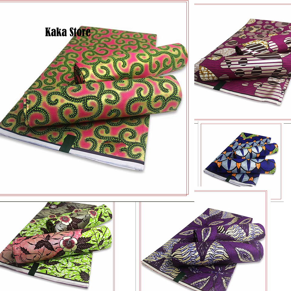 New African Golden Wax Fabric Cotton Material High Quality Wrap Print Pagne Nigerian Ankara Soft Sewing 6yards Wedding Dress