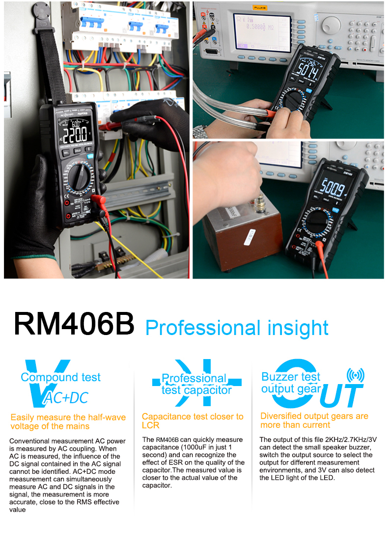 RM406B Digital Multimeter with 10000 Counts and Anti Burn Alarm for AC Voltage and Current Frequency Test 10