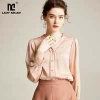 Women's Natutral Silk Shirts Sexy V Neck Long Sleeves Embroidery Piping Elegant Blouse Shirts