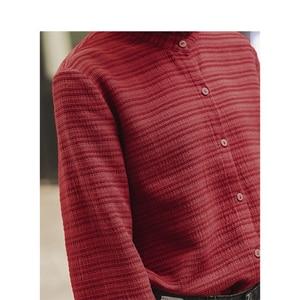 Image 4 - אינמן חורף ספרותי תחרה לעמוד צווארון פסים נוח רופף ארוך שרוול נשים חולצה