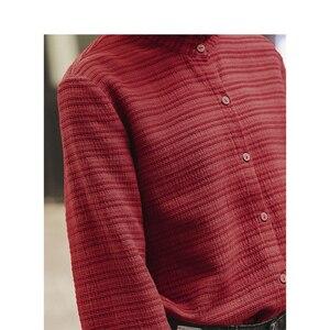 Image 4 - INMAN 冬文学レースアップスタンドカラーストライプ快適なルース長袖女性ブラウス