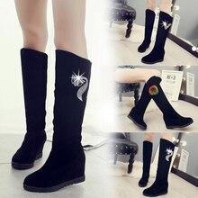 الشتاء أحذية حريمي برقبة أحذية امرأة حذاء برقبة للركبة 2019 شتاء جديد حجر الراين الديكور البرية زائد المخملية سميكة الثلوج الأحذية X85