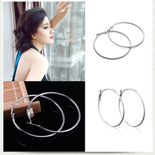 Hot Sale Hoop Earrings 20mm 50mm 70mm Big Smooth Circle Round Basketball Brincos Loop for Women Jewelry