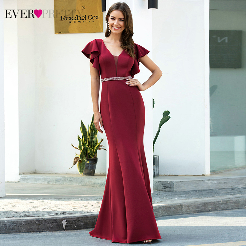 Burgundy Evening Dresses Ever Pretty EP00669BD Short Ruffles Sleeve Double V-Neck Beaded Draped Mermaid Party Gowns Vestidos