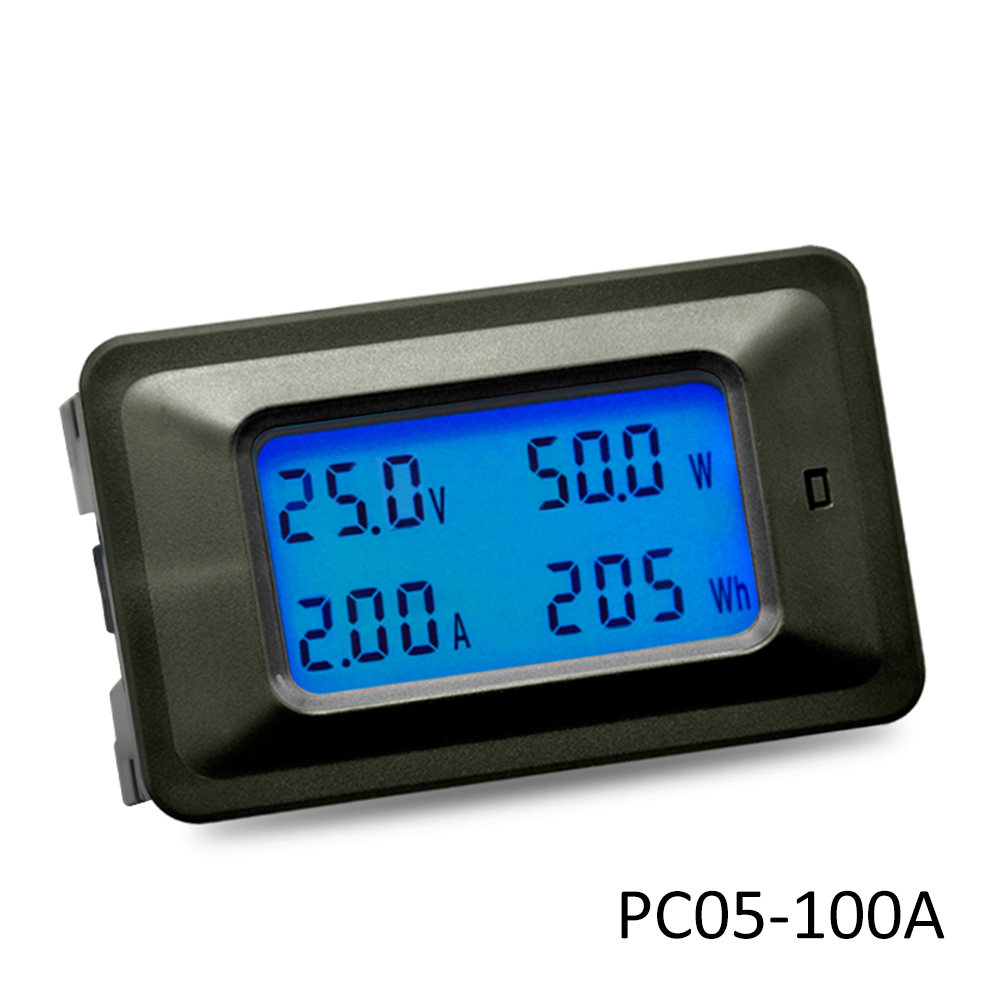 PC05-100A LCD DC 8-100V Current Power Energy Meter Tester 100A 4 IN1 Digital Voltmeter Ammeter