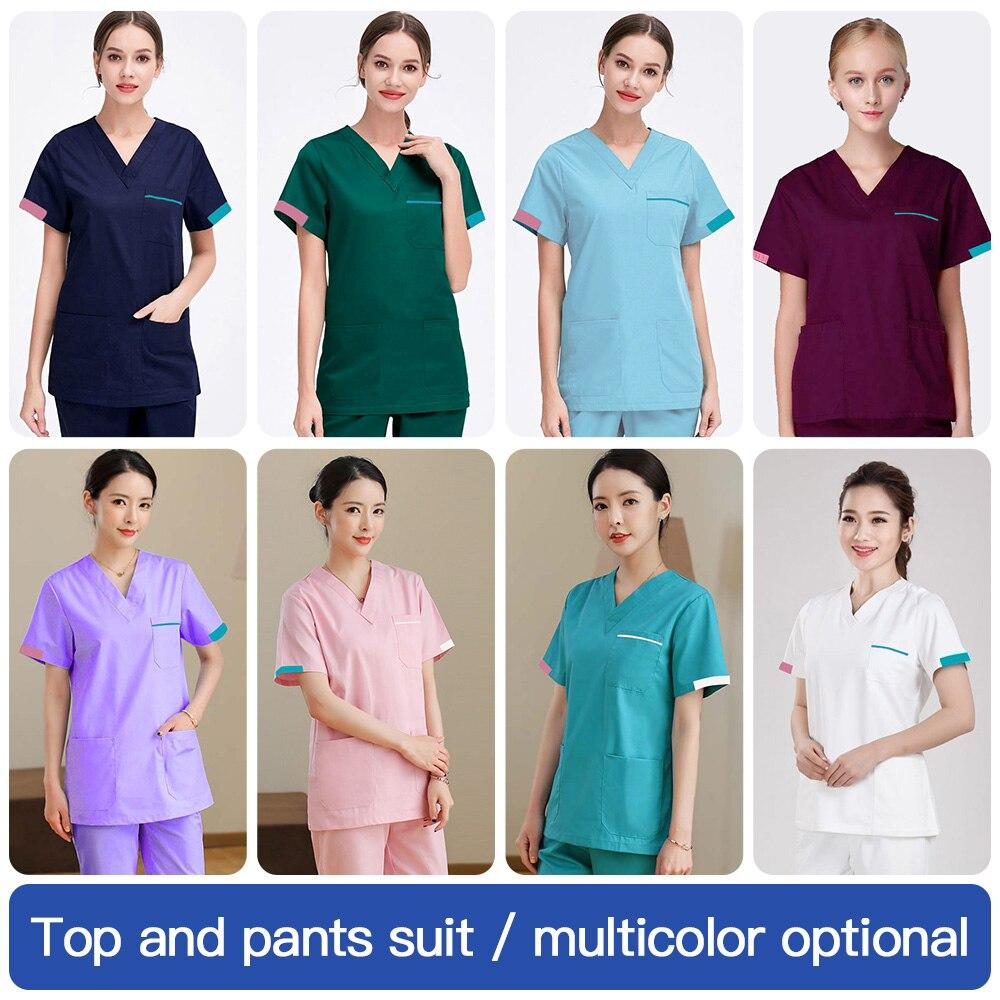 Women Scrub Set Classic V-neck Top+nursing Pants Uniform Doctor Clothes Surgery Overalls Dental Clinic Clothes Scrub Shirt/suit