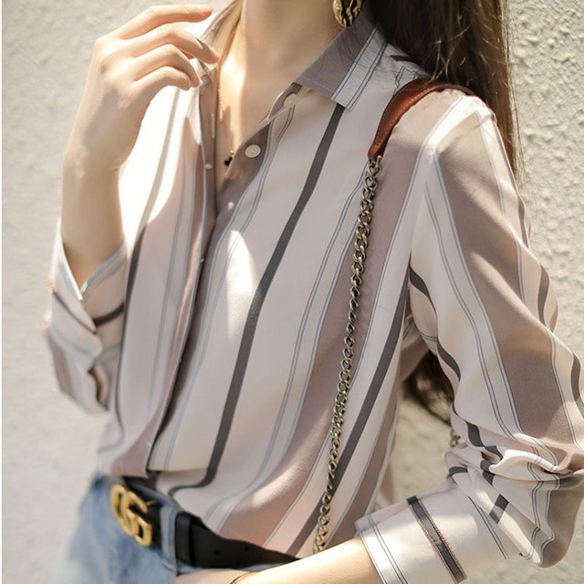 Spring Autumn Style Women Chiffon Blouses Shirts Lady Office Work Wear Stand Collar Striped Printed Blusas Tops DD8953 4