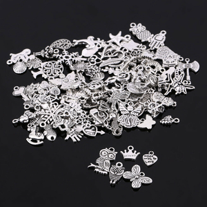 100pcs/lot Random Mixed Shape Tibtan Silver Charms Pendants for DIY Jewelry Making for Women Men