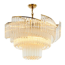 Luxury Spiral Hanging Clear Glass Fancy Chandeliers Chain Crystal Chandelier Lighting for Living Room foyer round chandelier