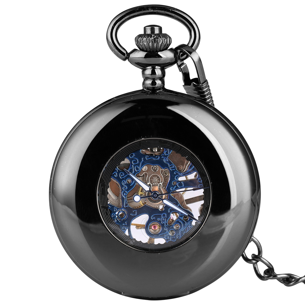 Black Hollow-out Pocket Watch Smooth Case With Blue Dial Mechanical Pendant Necklace With Chain Clock Reloj De Bolsillo