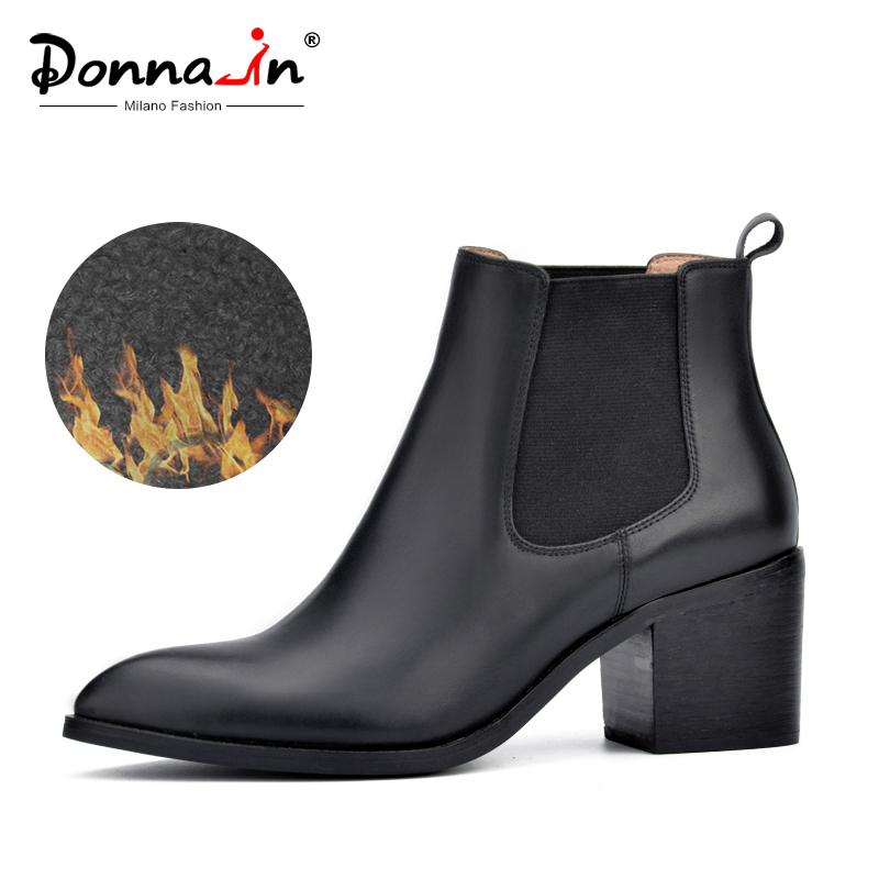 Donna-in 2019 new style genuine leather ankle boots pointed toe thick heel chelsea boots calf leather women boots ladies shoes